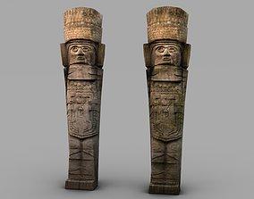 Low poly ancient stone statue 3D asset