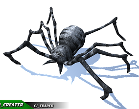 Low-Poly Black Spider Rigged Animated 3d model animated