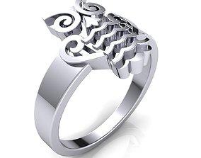 Fancy Design Ring 3d model Print metallic