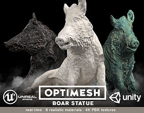 Boar wild hog statue - 3D BR model game-ready