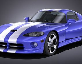 3D asset LowPoly Dodge Viper GTS 1996