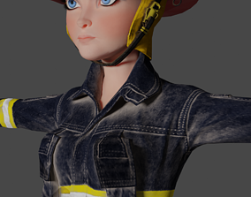 Firefighter Woman Cartoon 3D Model low-poly Ready rigged 1