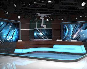 Virtual TV Studio 06 PBR 3D asset