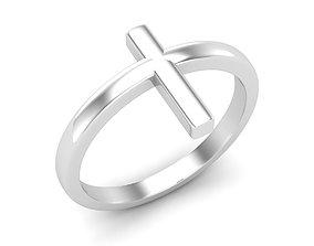 Cross gold ring for woman 3D print model