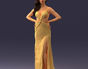 Brown-haired girl in yellow dress 0311 3D Print Ready