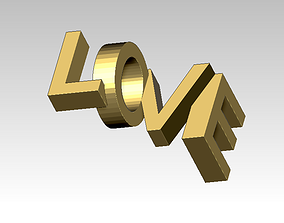 3D print model Love word symbol logo jewel pendant