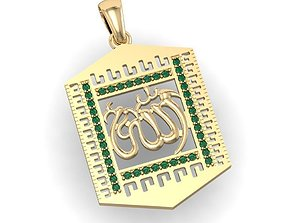 Islamic pendant with gems 3D print model