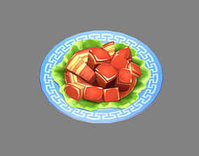 Cartoon dish Braised pork in brown sauce 3D asset