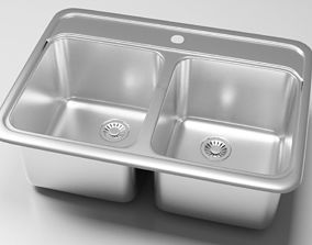 Double bowl kitchen sink 3D model