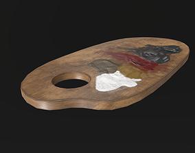 3D model Artist palette 02