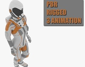 3D model animated female space suit