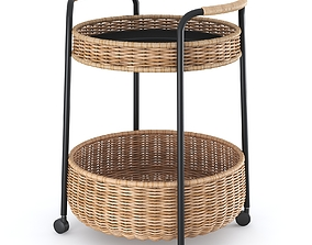 LUBBAN Serving cart with storage rattan 3D model 2