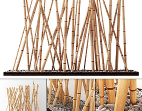 Bamboo decor fundament board pebble 3D model