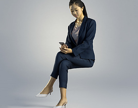 Woman Emily Business Sitting 002 3D
