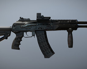 3D model animated New-generation AK12 machine-Gun