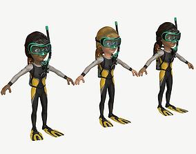 Diver Girl 3D asset