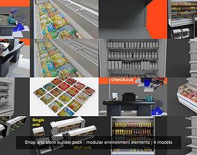 3D model Shop and store builder pack - modular environment