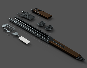 Talion Sword belt parts and Scabbards - 3D print model 2