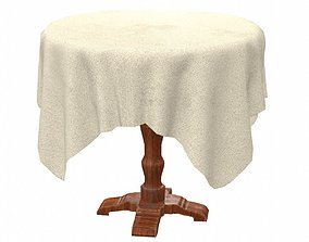 3D asset Round Table with table cloth