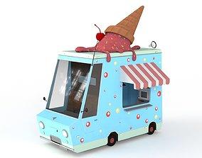 3D asset PBR Cartoon Ice Cream Car