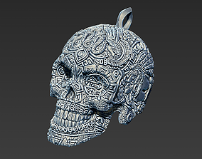 3D printable model Mayan skull keychain