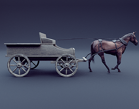 horse and wagon animated 3D model PBR