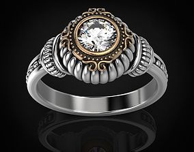 Stylish ring with a large diamond 443 3D print model