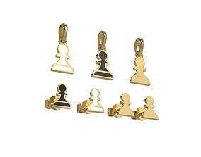 Pawn pendant and earrings chess set 3D print model