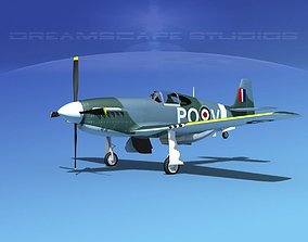 North American Mustang X RAF V07 3D model