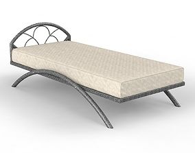 Metal bed with mattress 3D