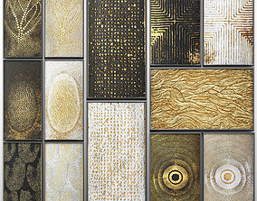 3D Collection of paintings with gold for walls 3