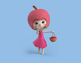 3D Model Girl Lychee Fruit Cartoon Character