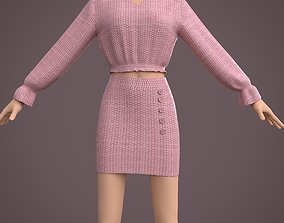 3D model dress - ruffle blouse and button mini skirt