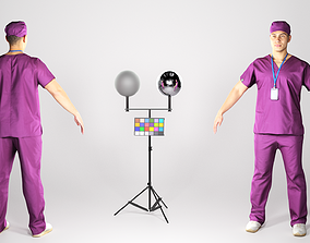 Young surgical doctor male in A-pose 3D model