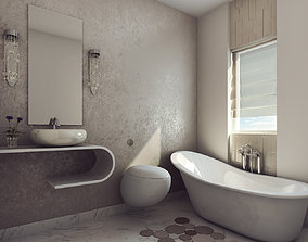 3D Modern Earthy Design Bath Room