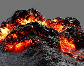 3D model game-ready magma lava rock
