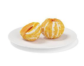 3D model Peeled Tangerines on White Plate