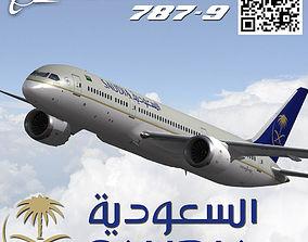 Boeing 787-9 Saudi Arabian Airlines livery 3D asset