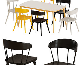 IKEA OMTANKSAM table and chairs 3D model