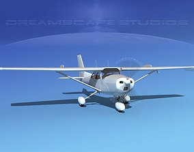 Cessna 172 Skyhawk STOL Bare Metal 3D animated