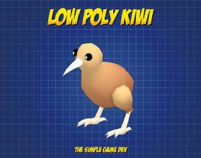 3D model Cute Low Poly Kiwi
