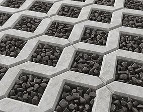 Paving pebble black 3D