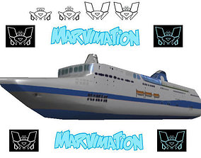 3D asset Crusie Ship Paper Cut Out