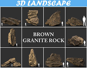 Low poly Brown Granite Rock Formation Pack 3D asset