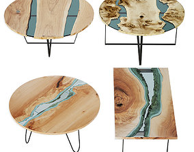 Slab Tables Set River 3D