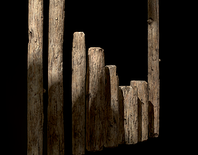 Old Wooden Poles and Planks 13 pieces 3D model