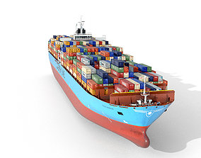 3D asset Maersk container ship 300m