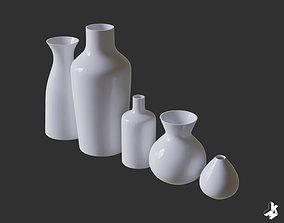 Set of White Ceramic Vases 3D model