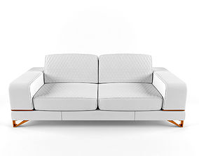 3D Bianca Leather Standard Sofa in White Rose