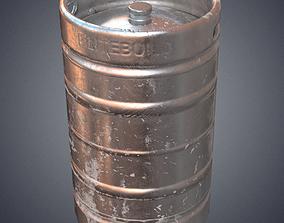 3D asset Steel beer barrel